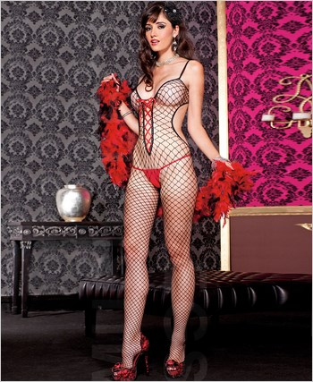 Cut Out Diamond Net Bodystocking ML-1380