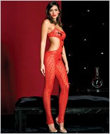 Heart Print Cut Out Sides Bodystocking ML-1411