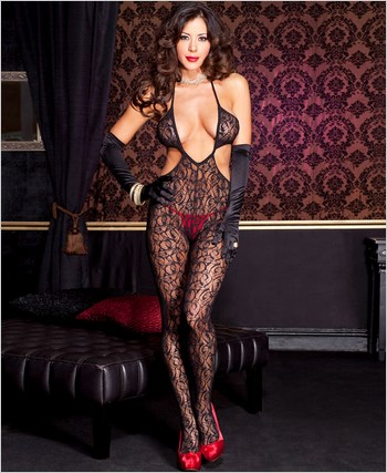 Lace Cut Out Bodystocking ML-1412