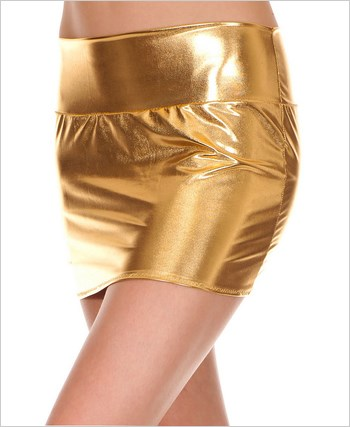 Gold Metallic Mini Skirt ML-142-Gold