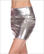 Silver Metallic Mini Skirt ML-142-Silver