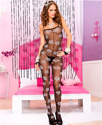 Floral Print Spandex Crotchless Bodystocking ML-1430