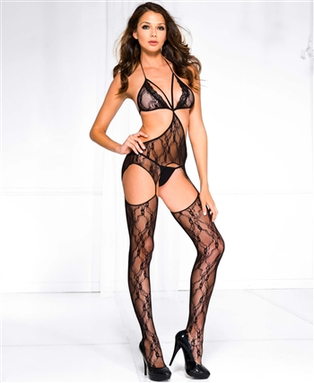 Floral Lace Halter Strap Bodystocking ML-1441