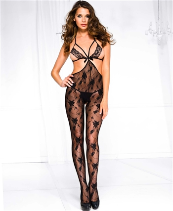 Front Lace Strap with Vine Lace Bodystocking ML-1442