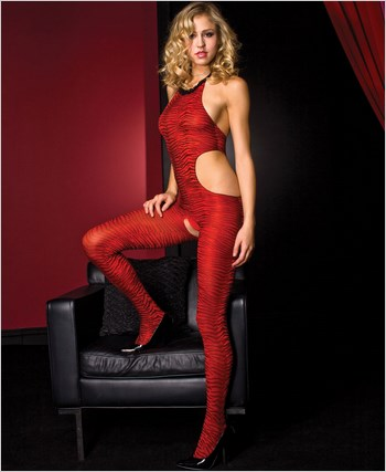 Halter Neck Zebra Print Bodystocking ML-1459