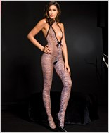 Tiger Print Crotchless Bodystocking ML-1463