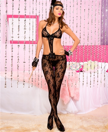 Lace Halter Cut-Out Crotchless Bodystocking with Satin Bow ML-1466