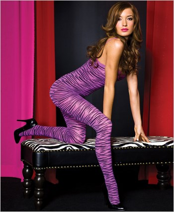 Purple Zebra Print Bodystocking ML-1467-Purple-Black