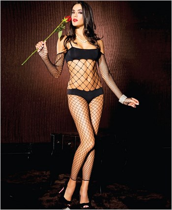 Opaque Bikini Diamond Net Crotchless Bodystocking ML-1557