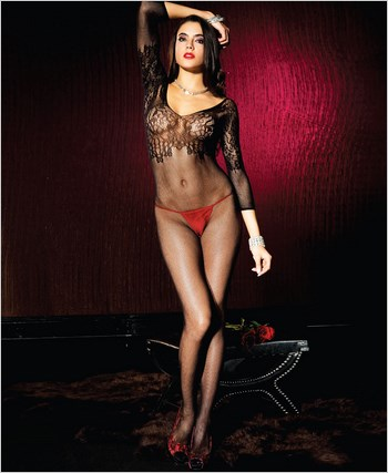Seamless Fishnet Quarter Sleeve Crotchless Bodystocking ML-1570