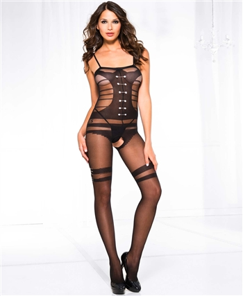 Faux Buttoned Up Teddy and Belt Bodystocking ML-1611