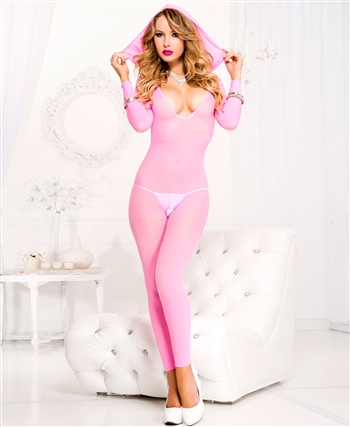 Footless Deep V Hooded Crotchless Bodystocking ML-1686-Neon-Pink