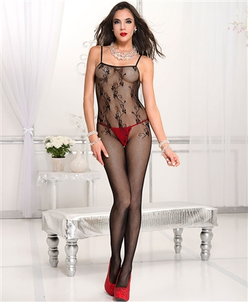 Fishnet with Lacy Flower Design Bodystocking ML-1721