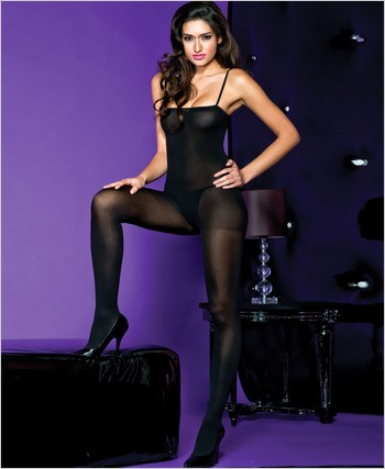 Music Legs® Opaque Spaghetti Strap Bodystocking ML-1747