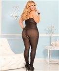 Plus Size Opaque Spaghetti Strap Bodystocking ML-1747Q