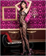 Black Floral Lace Bodystocking ML-1768-Black