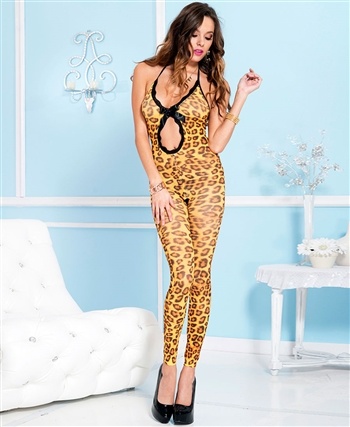 Front Oval Cut Out Cheetah Print Footless Bodystocking ML-1775