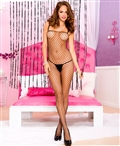 Spandex Mini Diamond Net Crotchless Bodystocking ML-1905