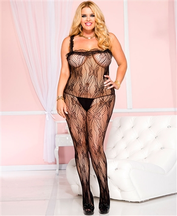 Plus Size Butterfly Detail Lace Crotchless Bodystocking ML-1969Q