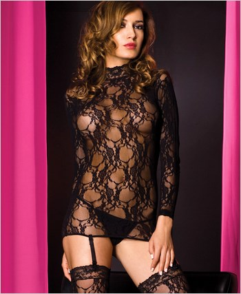 Lace Long Sleeve Chemise And Stockings ML-2121