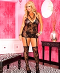 Plus Size Lace Halter Garter Dress with Attached Stockings ML-2123Q