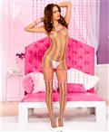 One Shoulder Rainbow Fishnet Dress with Attached Stockings ML-2129