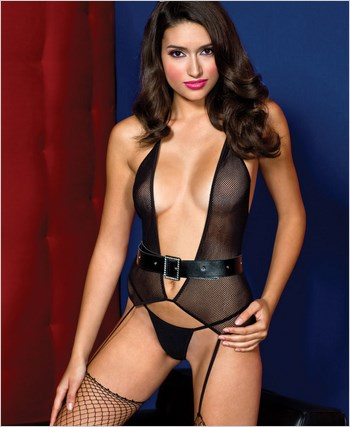 Music Legs® Fishnet Halter Neck Garter Bustier ML-2448