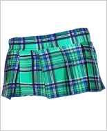 Green Mini Plaid Skirt ML-25074-Green