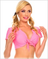Hot Pink Tie Front Top ML-25076-Hot-Pink