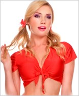 Red Tie Front Top ML-25076-Red