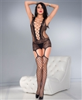 Lace and Net Camisole with Attached Stockings ML-2789