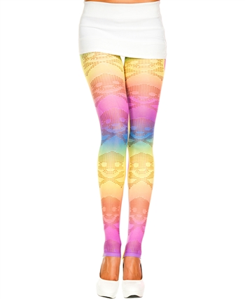 Cross Bone Design Rainbow Leggings ML-35121
