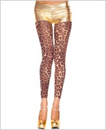 Opaque Cheetah Print Footless Tights