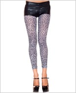Opaque Leopard Print Footless Tights