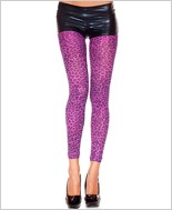 Purple Leopard Print Footless Tights