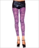 Purple Zebra Print Footless Tights