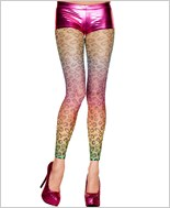 Fishnet Rainbow Leopard Print Leggings