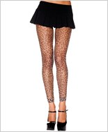 Fishnet Cheetah Print Footless Tights