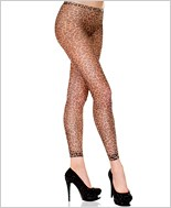 Fishnet Leopard Print Footless Tights