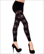 Flowers And Striped Net Design Leggings