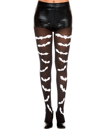 Gothic Bat Print Pantyhose ML-37273