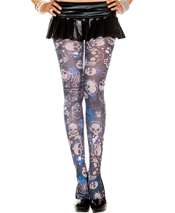 Gothic Graphic Opaque Pantyhose ML-37396
