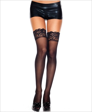 Music Legs® Sheer Thigh Hi With Lace Top ML-4110