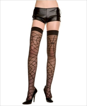 Music Legs® Lycra Spider Web Thigh Hi ML-4148