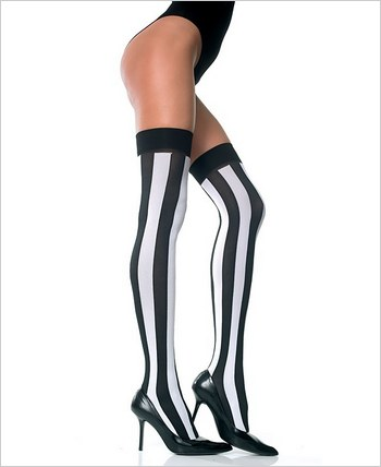 Music Legs® Opaque Vertical Stripes Thigh Hi ML-4219