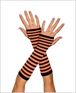 Fingerless Striped Gloves ML-422-Black-Orange