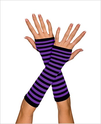 Fingerless Striped Gloves ML-422-Black-Purple
