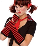 Fingerless Striped Gloves ML-422-Black-Red