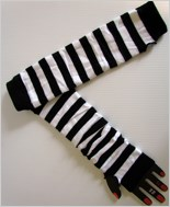 Fingerless Striped Gloves ML-422-Black-White