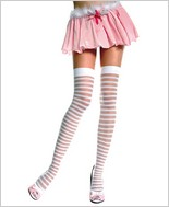 Music Legs® Sheer Horizontal Stripe Thigh Hi ML-4236